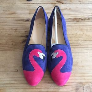 C. Wonder Flamingo Embroidered Suede Loafers NWOT